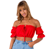 Off Shoulder Tank Top Women 2017 Summer Sexy Lace Up Short Crop Top Casual Loose Ruffles Beach Backless Bralet Tops