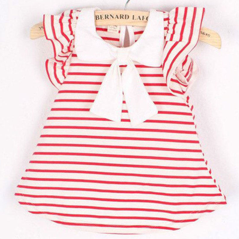 Baby Dress 2018 Summer New Girls Children's Floral Lemon Sling Bow Cotton Striped Cartoon Strap Kids Princess Dresses 0-2Years