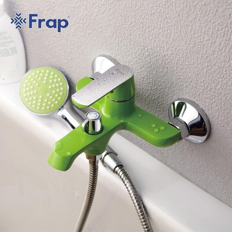 Frap Weiß Bad Dusche Messing Chrom Wand Montiert Dusche Wasserhahn Dusche Kopf sets grün Orange F3231 F3232 F3233