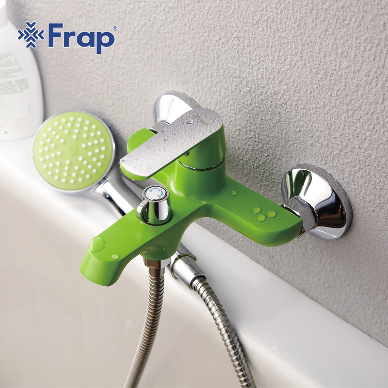 Frap White Bathroom Shower Brass Chrome Wall Mounted Shower Faucet Shower Head sets green Orange F3231