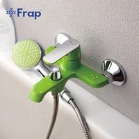 New Arrivals White Bathroom Shower Brass Chrome Wall Mounted Shower Faucet Shower Head Sets Green Orange