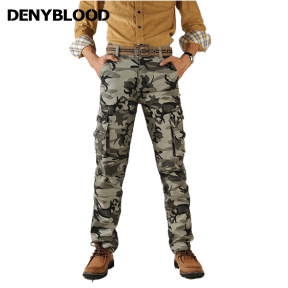 Denyblood Jeans Mens Cargo Pants Army Green Camouflage Twill Pants Male Military Cotton Working Clothes Casual Pants 4821