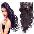 Горячая бразильская девственные реми целую голову волнистые зажим-в выдвижение человеческих волос # 2 7 шт. 8 шт. 10 шт. 70 г - 220 г 16 - 26 дюймов клипы в