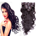 Hot Brazilian Virgin Remy Full Head Wavy Clip in Human Hair Extension #2 Brown 7pcs 8pcs 10pcs 70g-220g 16-26inch Clips in hair