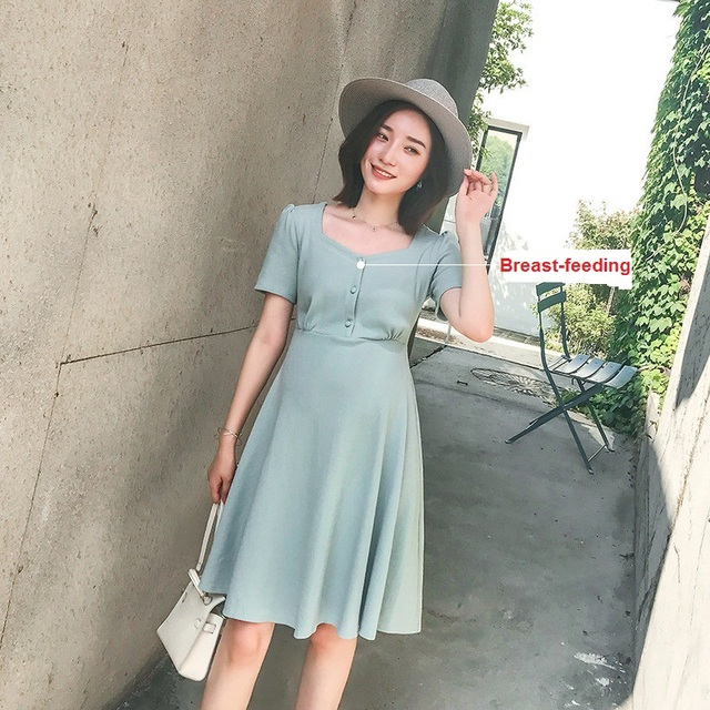 b35ab416f4932 Moms Knitted Short Sleeve pregnancy Maternity Clothes Nursing Clothing  Breastfeeding Dresses for Pregnant Women Maternity dress