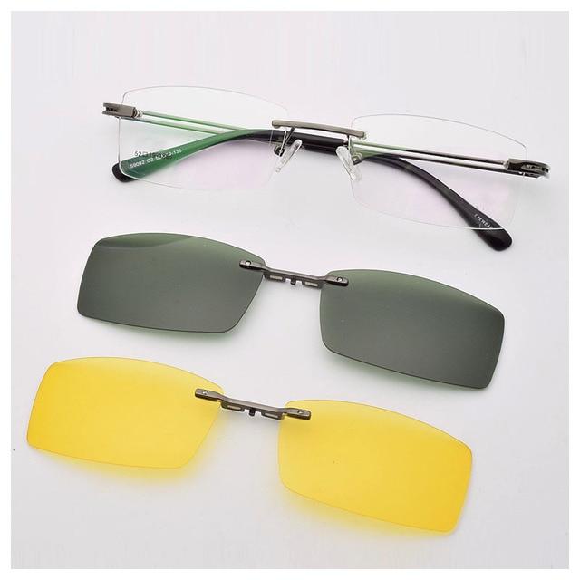 b28d37b3ef Frame Free Glasses Frame With Magnet Clip Film Myopia Gray Glasses Lens  Rimless Frame Men and omen Sunglasses Frame No Border