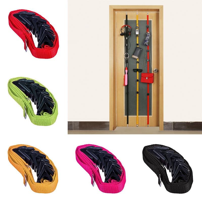 New Rack Over Door Straps Hanger 8 Hooks Adjustable Hat Bag Clothes Coat Racks Organizer E2S