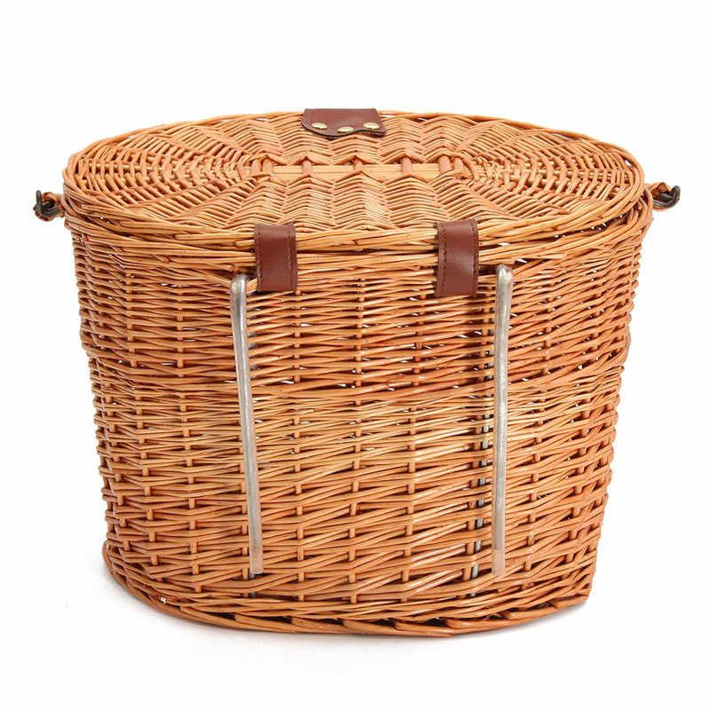 Fietsstuur Opknoping Wilg-manden Rieten Fiets Mand met Deksel Winkelen Stuff Box Huisdieren Vruchten Picknick Panier Osier