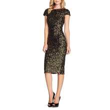 2017 Women Sequined Dress Beads Party Dress Sexy Club Night Dress Lady Slim Evening Party Knee Dress XXL