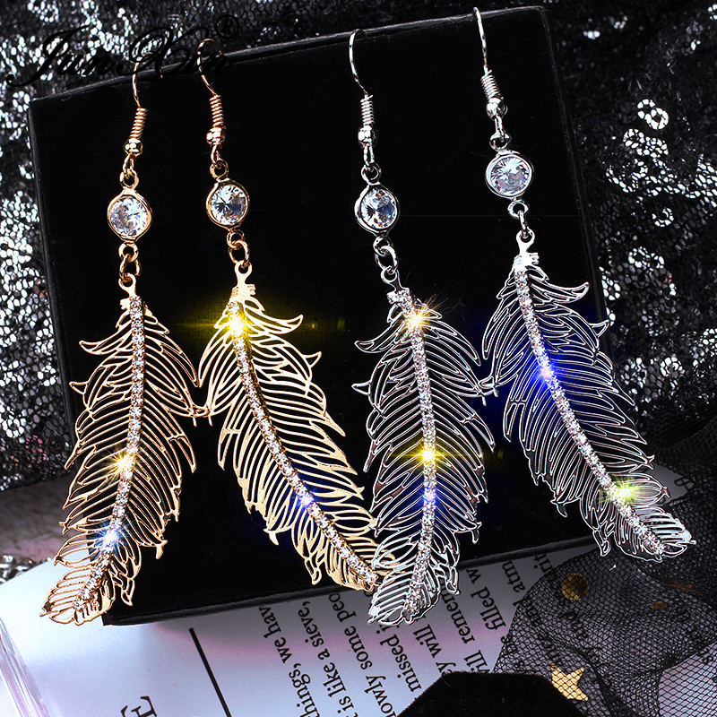 JUNXIN Female Cute Long Tassel Feather Drop Earrings For Women White Gold Filled White Crystal Dangle Earrings Party Jewelry