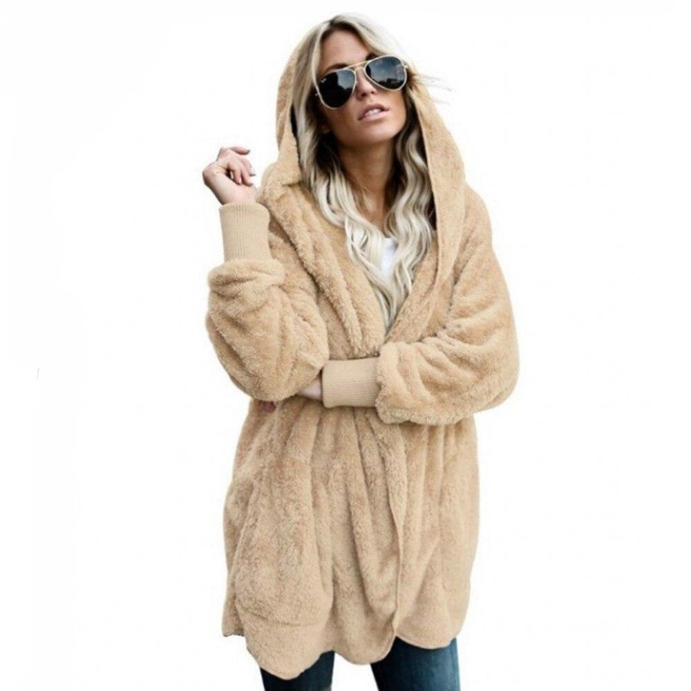 2019 Winter Warm Faux Fur Jacket Coat Women's Jacket Female Lamb Wool Coat Overcoat Long Sleeve Hooded Outwear Cardigan