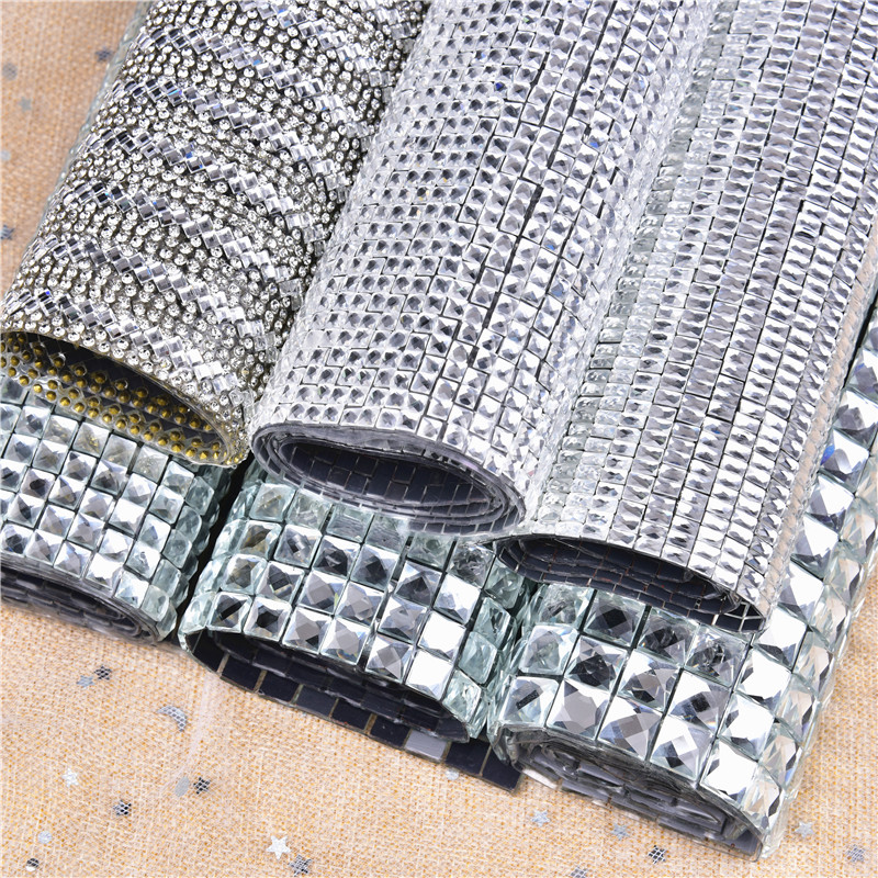 24*40cm Hotfix Square Glass Rhinestone Mesh Trim Ribbon Crystal Fabric Sheet Strass Applique Banding For DIYDress Jewelry Making