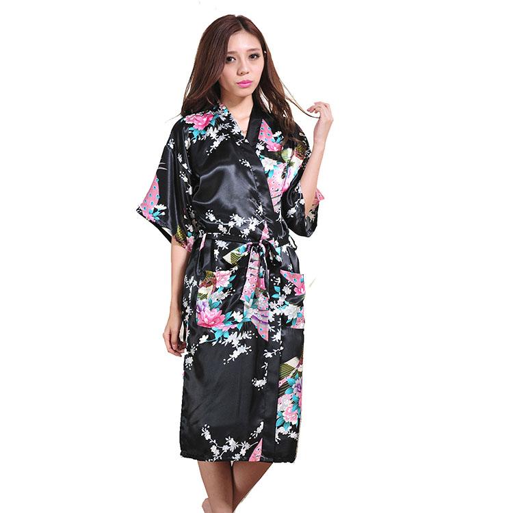 b351ef75596 2019 Ladies  Summer Long Cardigan Nightgown Thin Print Bathrobe ...