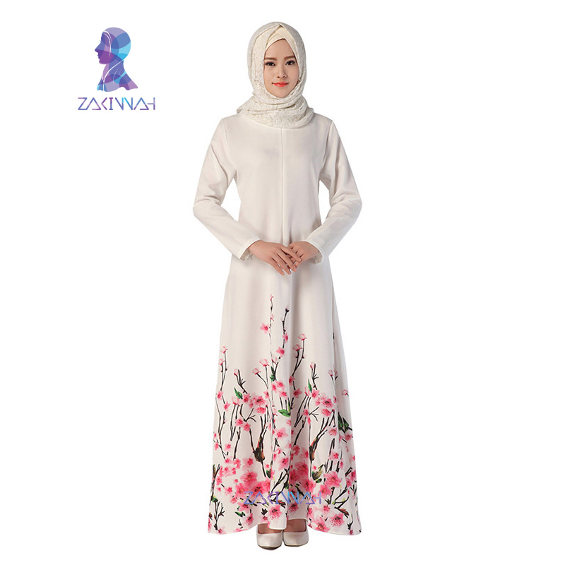 043 New Abaya Design Elegant Muslim Long Dress Flower Pattern Islamic Dress Robe Kaftan Abayas For Women