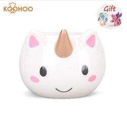 Koohoo taza de unicornio 3D taza de café de cerámica niños niña niño lindo creativo mano-dolor taza regalo Color 350 ML tazas de unicornio de dibujos animados