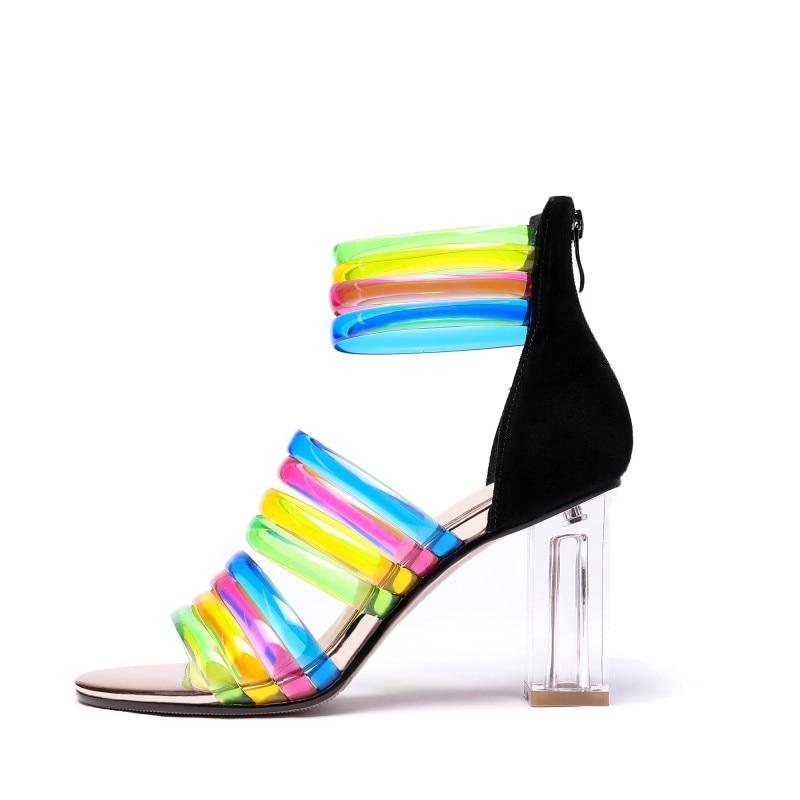 Zapatos 4 5 8 Verano D1042 Mujer Pie Cuadrado Abierto Lindo Multicolor Tamaño Agradable Nueva Moda Mujeres Tacón De Dedo Sandalias Del Alto Yifsion Fiesta 1xwTRBqX