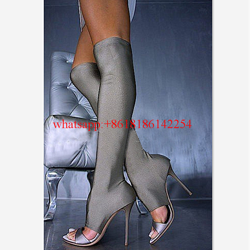 Europe Station New Style Knee High Boots Female Peep Toe Boots Hollow High Heel Sandals Stretch Fabric Boots Bottes Femmes 2016