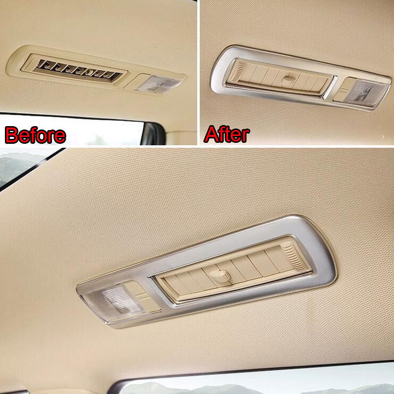 4x Car Styling Roof Rear Reading Light Lamp Frame Cover Trim Molding Sticker Matt ABS Fit For 2015 Toyota Highlander Accessories