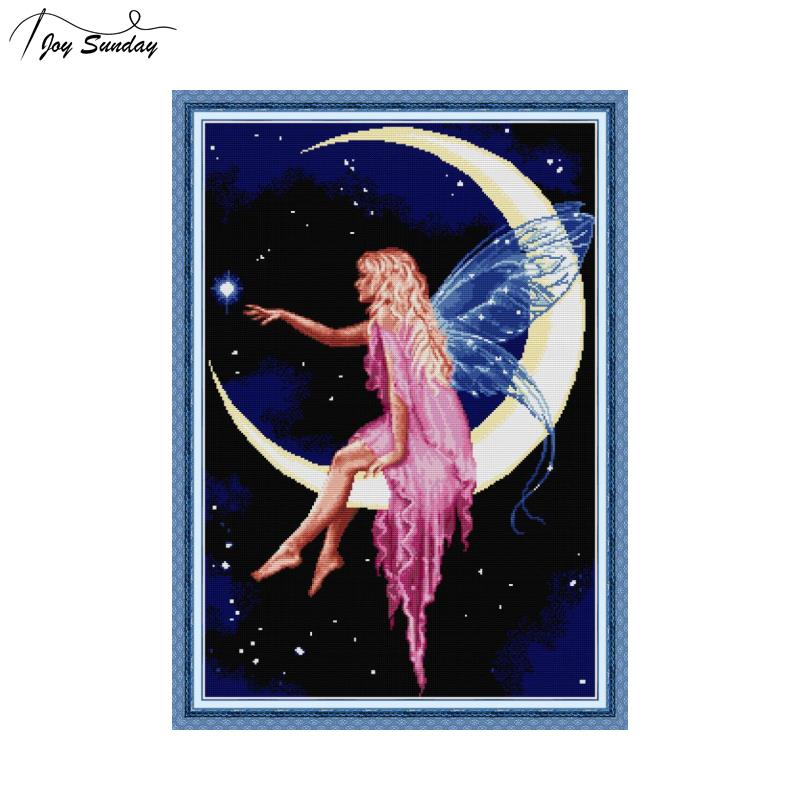 Joy Sunday The Moon Fairy Stamped DMC Cross Stitch Kits Aida Fabric 14 Cross Stitch Printed Canvas for Embroidery DIY Needlework image