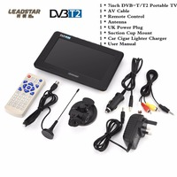 LEADSTAR 7 Inch Portable Digital HD TV Digital Analog Television Receiver Antenna DVB T2 TV Support