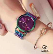 GUOU Watch Women Watches Top Luxury Exquisite Womens Fashion Colorful Stainless Steel Ladies Relogio Feminino