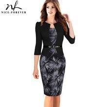 Женское платье-футляр с жакетом Nice-forever, элегантное облегающее платье с декоративным коротким жакетом, с рукавом 3/4 или длинным рукавом, модель b237