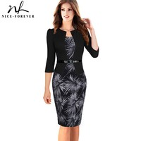 False Two Piece Brief Elegant Floral Geometric Checks Work Dress Office Bodycon Female Full Sleeve Knee