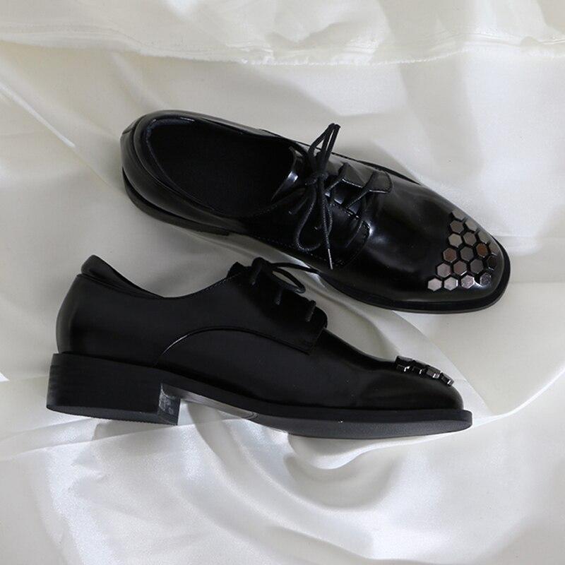Cuir Rivet Ronde Noir Bouche D'âge Base Loisirs De Lacets Saison En Oxford Véritable Femmes Chaussures Pour Tête 2019 Profonde Med À Black TaIqYWw