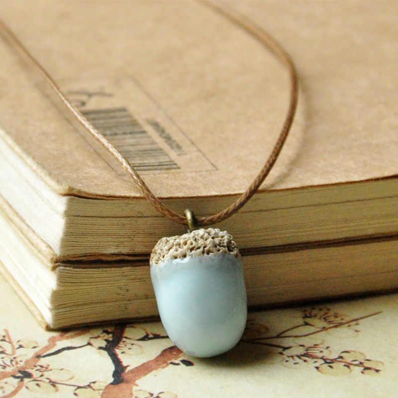 Ceramic acorn necklace /& earrings set