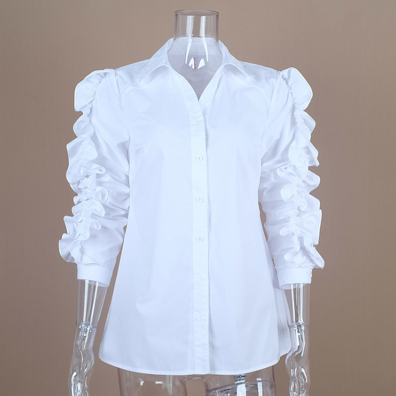 75f9c2619 TWOTWINSTYLE Ruffles Blouse Female Lapel Collar Patchwork Long Sleeve White  Shirt Tops For Ladies 2018 Spring OL Vintage Clothes-in Blouses & Shirts  from ...