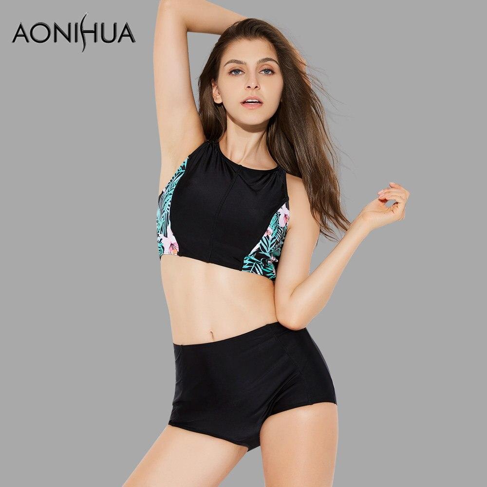 AONIHUA High Waist Bikini Set für Frauen Crop Top Badeanzüge Push - Sportbekleidung und Accessoires - Foto 2