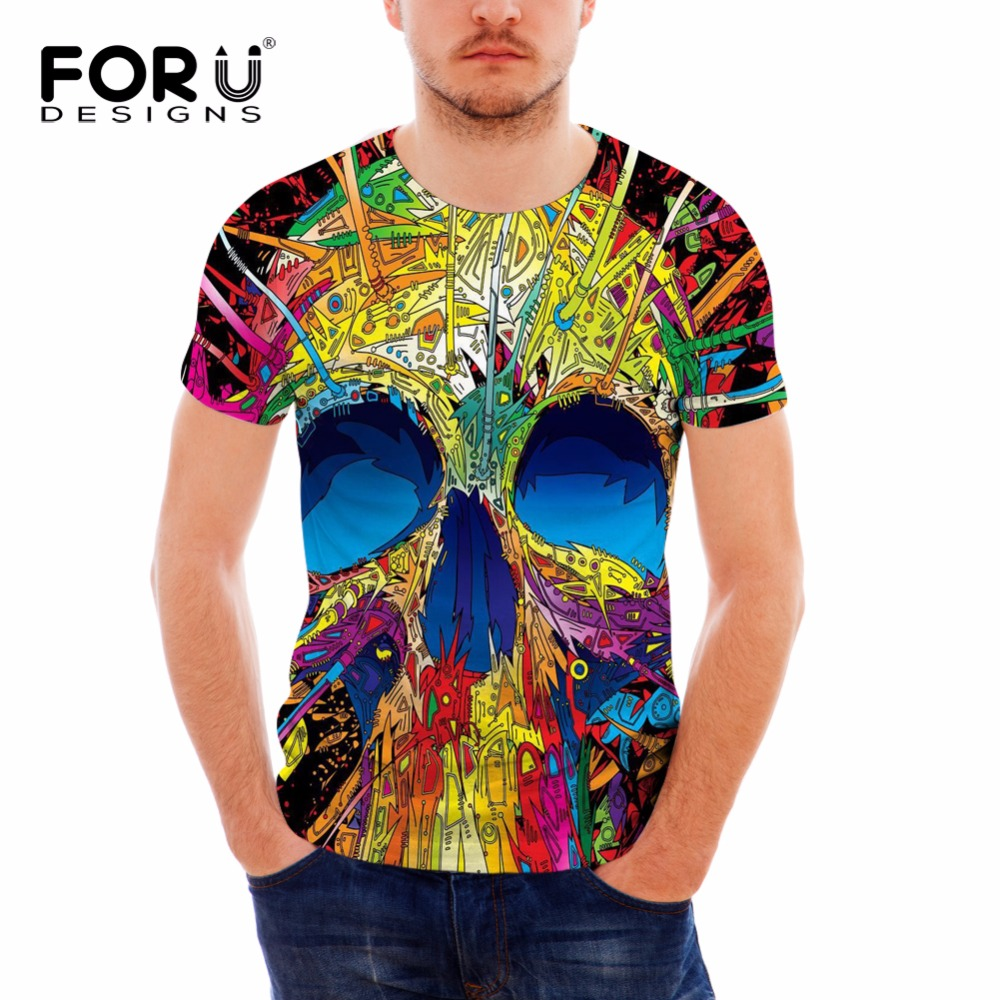 FORUDESIGNS 3D Skull Printing Man T Shirt Summer Short Sleeved Breathable Punk Style Male T shirt