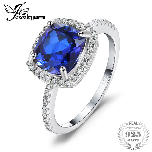 JewelryPalace Classic 3.3CT Cushion-Cut Blue Created Sapphire Wedding Engagement Anniversary Ring 925 Sterling Silver 7NzUmHEOti