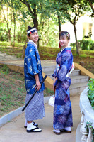Japanese Men and Women Blue Fireworks Thickened Wrinkle resistant Decolorization Kimono Suit Full Set
