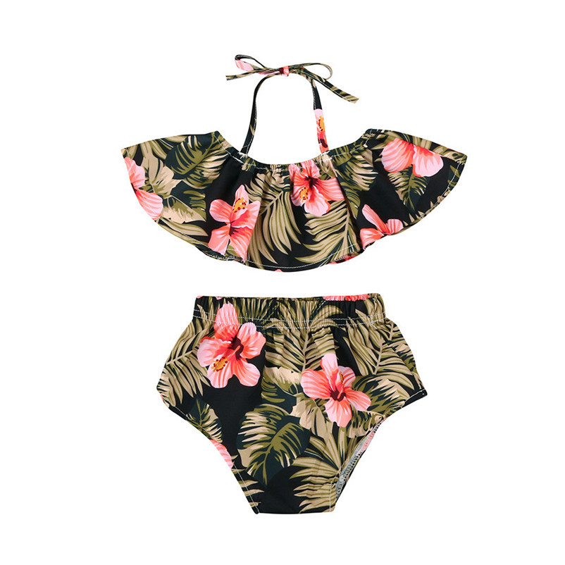 2018 NEW Summer fashion  Toddler Kids Baby Girls Summer Clothes Floral Shirt Tops Shots 2PCS Outfits Set Children Clothing p5 0 24m floral baby girl clothes set 2017 summer sleeveless ruffles crop tops baby bloomers shorts 2pcs outfits children sunsuit