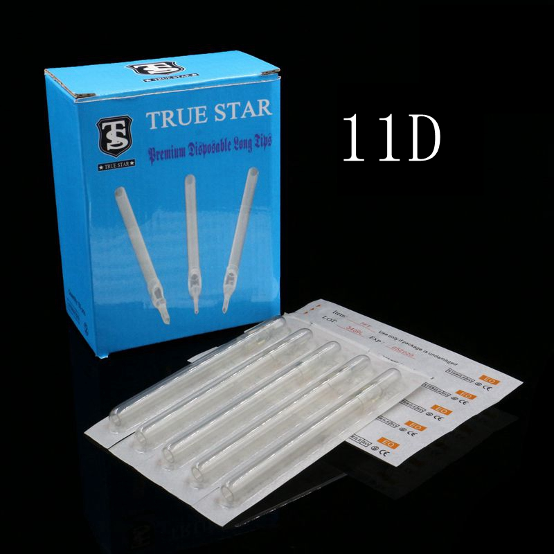 50PCS 11D True Star Tattoo Tips Clear Long Disposable Tips 108mm Needles Tips For Tattoo Needles Free Shipping