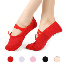 2019 fashion flat shoes black red canvas shoes aircraft yoga teacher gymnastics shoes ballet shoes children ballet shoes@py(China)