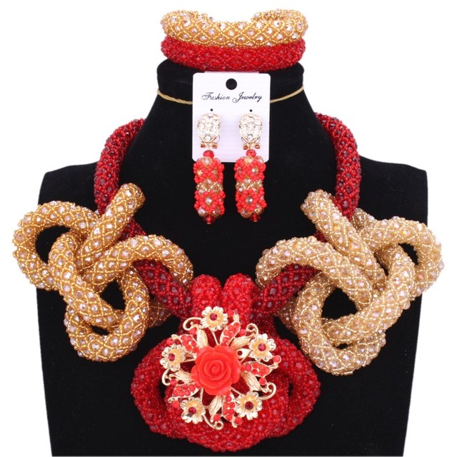2018 Newest African Beads Necklace Nigerians Red & Gold Dubai Jewelry Sets For Women Wedding Jewelry Sets For Brides Free Ship