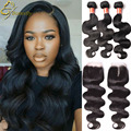 Wet And Wavy Brazilian Lace Closure With Bundles Body Wave Brazilian Hair With Closure Grace Hair Company Bundles With Closure
