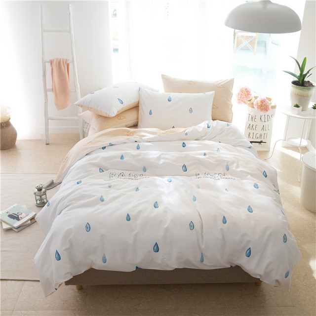 Raindrop Clouds 40s Spring And Summer Printing Cotton Bedding Set Duvet Cover Bed Linen Sheet Pillowcase King Queen 4pcs