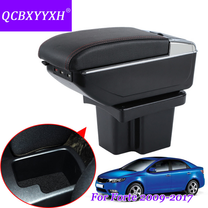 QCBXYYXH Car Styling PU Leather Car Armrest For KIA Forte 2009-2017 Central Storage Box Cover Interior With Cup Holders Case for kia forte 2009 2017 abs with pu armrest box central store content box cup holder interior car styling products accessory