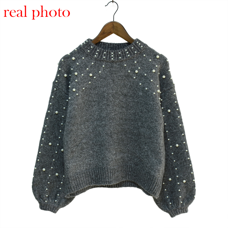 Simenual Autumn winter 18 women sweaters and pullovers bead lantern sleeve knitted sweater pullover female grey slim jumpers 13