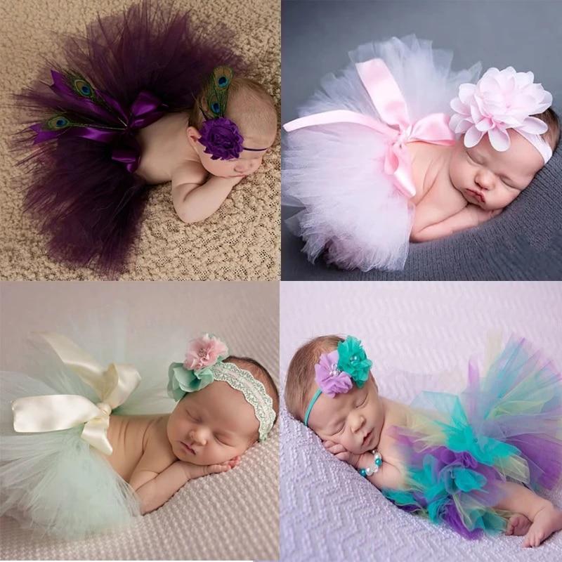 Newborn Baby Kid Girl Flower Headband+Tutu Skirt Photo Costume Outfit Prop US