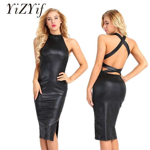 c3547e81fa20 YiZYiF Sexy Womens Black Faux Leather Bodycon Dating Night Dress Party  Nightwear Cris-Cross Bondage
