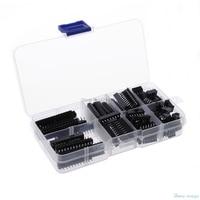Para 66 Pçs/set DIP IC Sockets Adaptador de Solda Tipo de Socket Kit 6 8 14 16 18 20 24 28 Pinos promoção