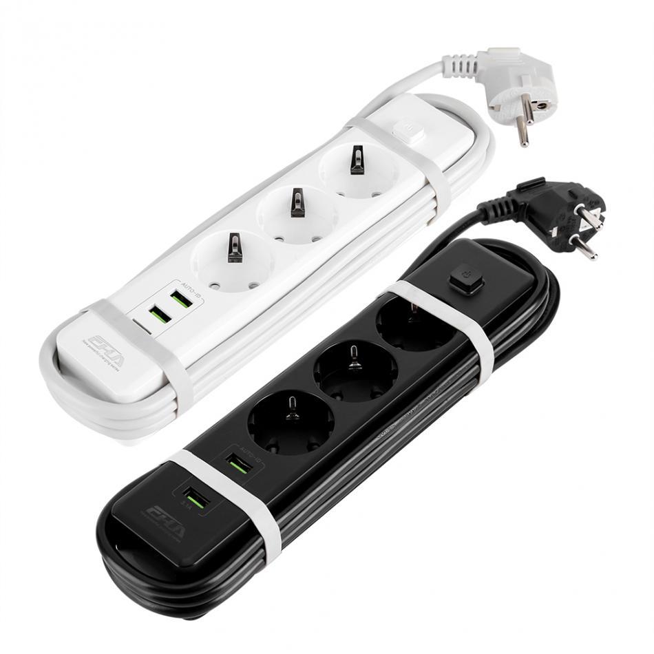 Enchufe europeo USB Smart Power Strip 3-Port 3-toma de corriente de pared protección contra sobrecarga Protector de sobretensión 2 colores disponibles