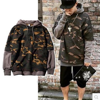 Men Hoodies Camouflage Soldiers Patchwork Full Length False Two Hooded Men Keep Warm