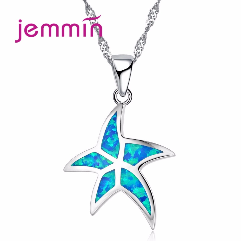 Sproty Type Luxury Starfish Jewelry Pendant Pure 925 Sterling Silver Necklace for Women Fashion Blue Fire Opal Bijoux
