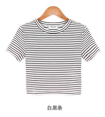 03a6f19a3358 Summer American Apparel Crop Top Striped Short Sleeve Midriff baring Tees  Casual Women O Neck Ladies Cotton Punk Novelty T Shirt-in T-Shirts from  Women s ...