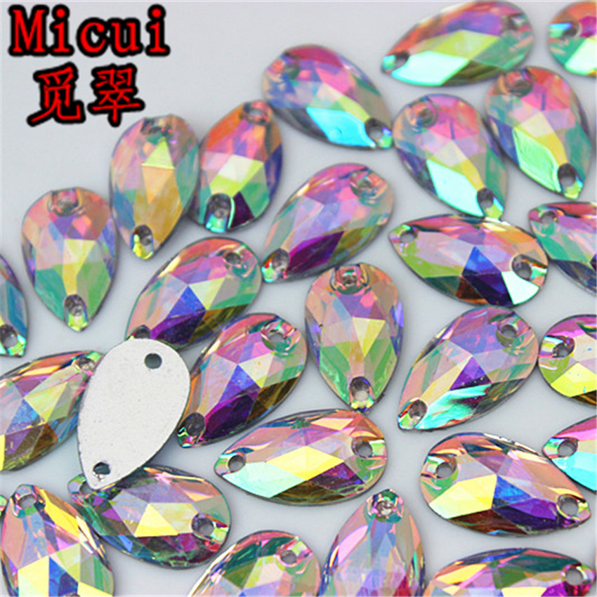 Detail Feedback Questions about Micui 100pcs AB Clear Drop  Horse eye Sew on  Resin Rhinestones crystal Stones Flatback Sewing for Garment Bags  Decoration ... 49bc601c6f87